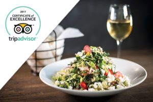 Trip advisor excellence seal with salad
